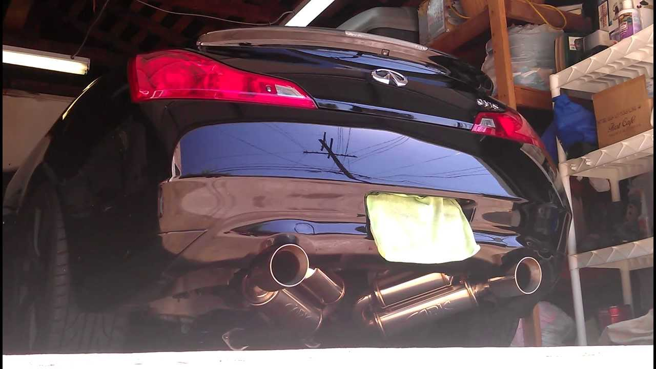 2008 g37s ark exhaust with motordyne test pipes