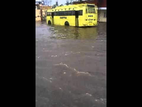 Patiala bus stand after raining 2 hrs.