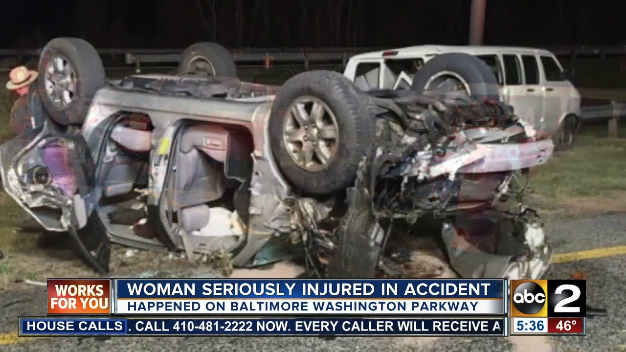 Woman seriously injured in accident on Baltimore Washington Parkway