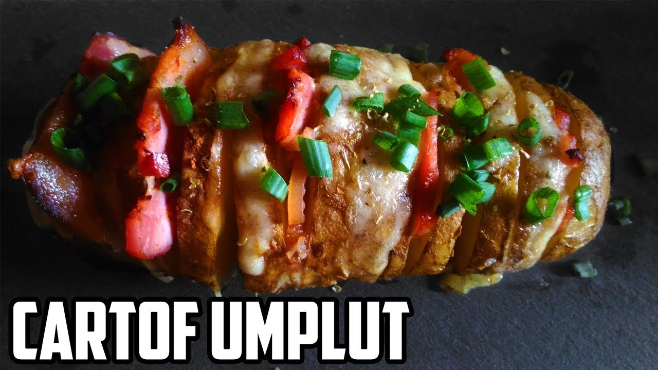 Cartof Umplut Cu Bacon Si Cascaval La Cuptor Cheesy Bacon Hasselback Potatoes