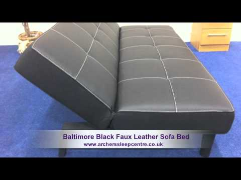 faux leather sofa bed uk gray reclining set baltimore black youtube