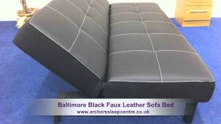 Baltimore Black Faux Leather Sofa Bed