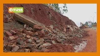 Floods destroy a multi-billion shillings embankment wall on Red Hill Link Road