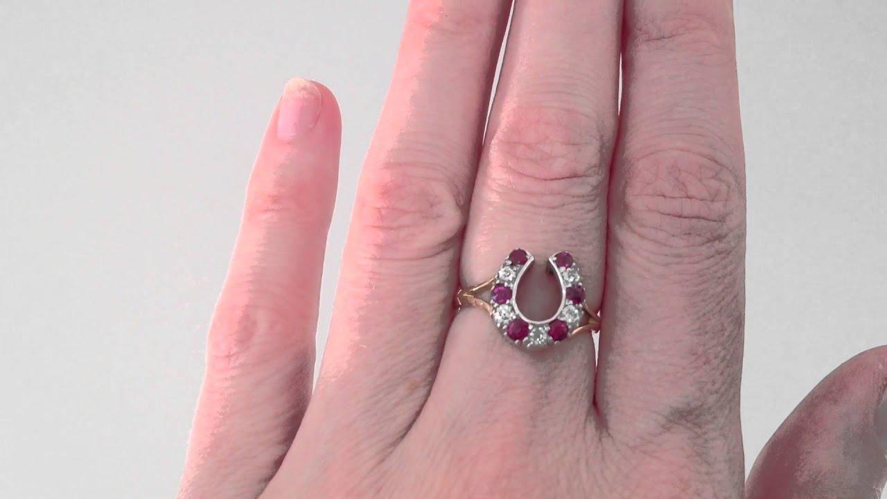 www.katebadge.com.au - Antique Ruby and Diamond Horseshoe Ring in ...