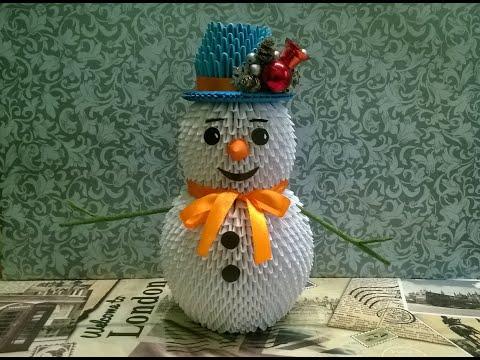 Снеговик из модульного оригами мастер класс