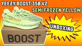 "YEEZY BOOST 350 V2 ""SEMI FROZEN YELLOW"" UNBOXING"