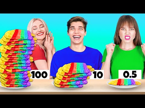 100 LAYERS CHALLENGE || Ultimate 100 Layers Of Tattoos, Kit Kat, Burgers and more by 123 Go! Shorts