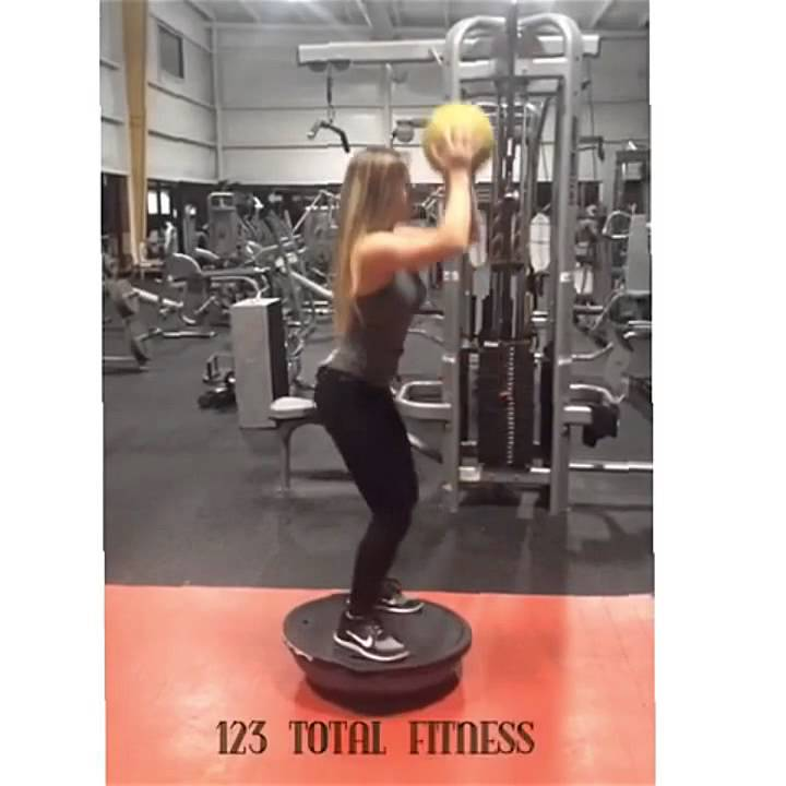 Bosu Ball One Leg Squat: BOSU Ball Squat To Overhead Press