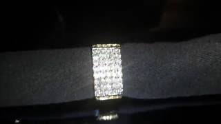 Mens Gold Fn Lab Diamond Hip Hop Pinky Brass Ring Stainless Ice Fashion RINGS