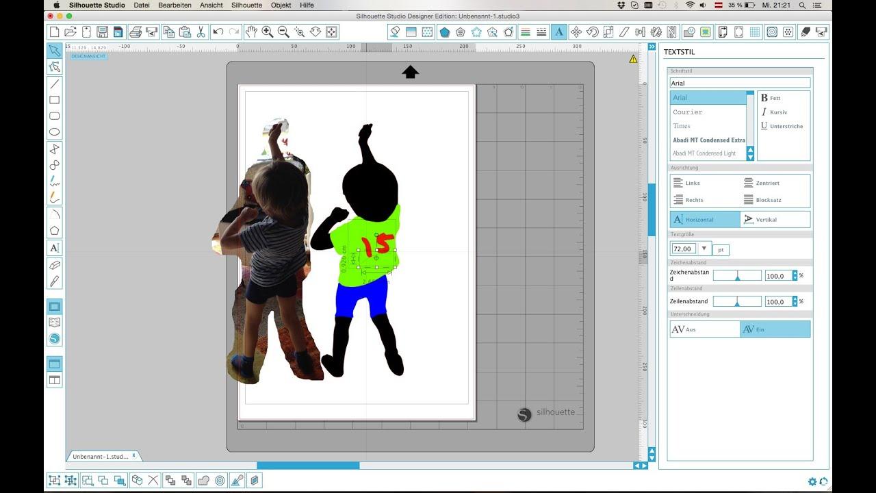 Silhouette Studio - Silhouette erstellen+Text an Linie ausrichten ...