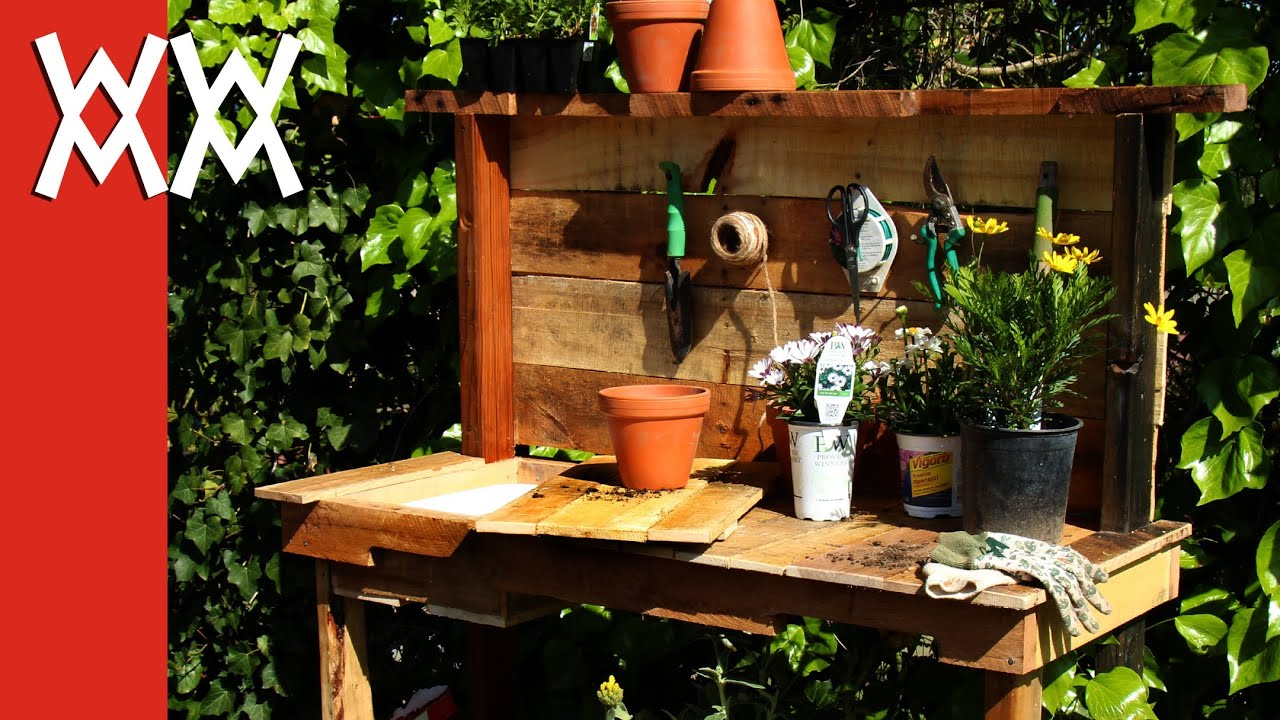 Make a rustic potting bench. DIY project using upcycled wood and ...