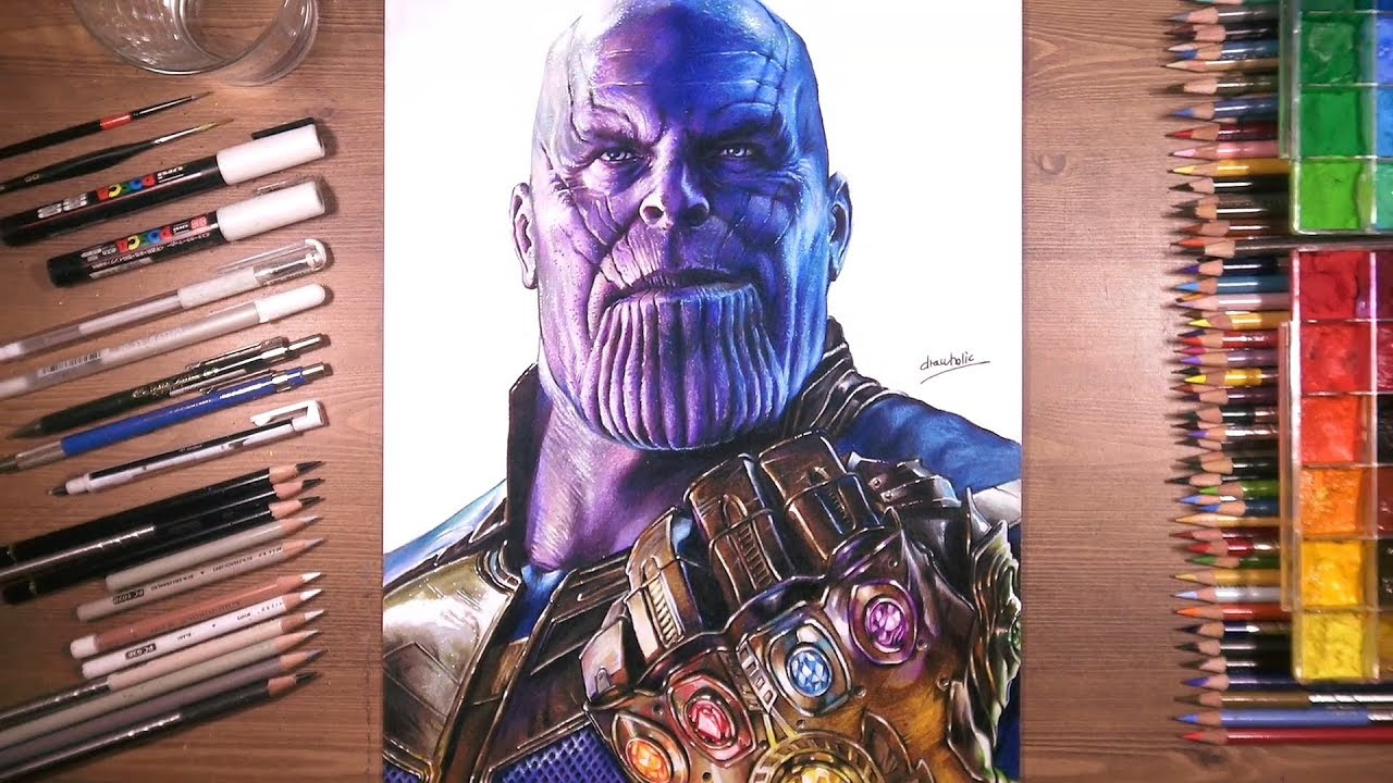 Drawing Of Thanos With Infinity Gauntlet Youtube