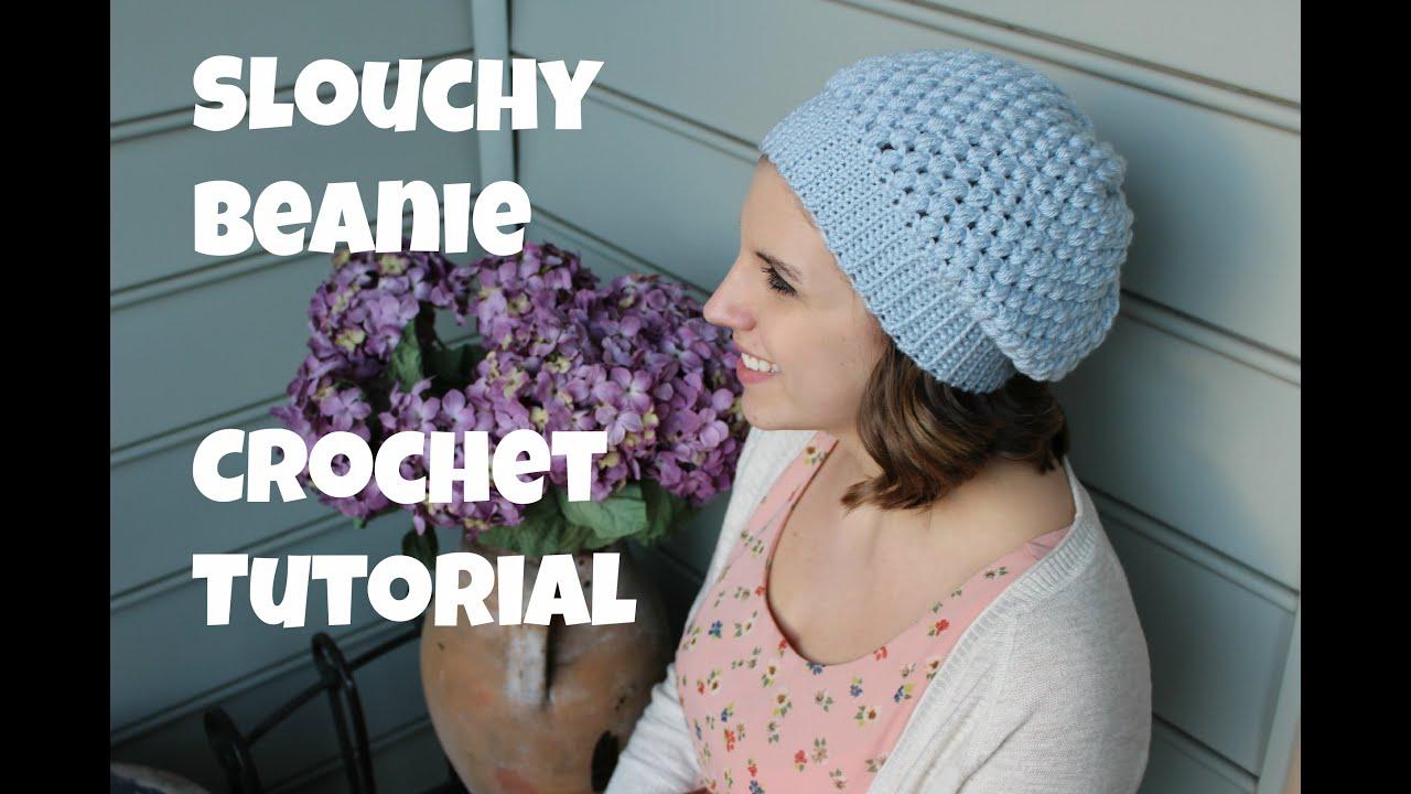 dfc8b4325d8ec5 Puff Stitch Slouchy Beanie Crochet Tutorial   Sewrella - YouTube