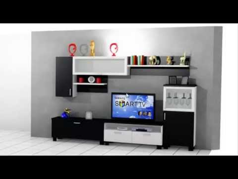 Como hacer un mueble de salon moderno youtube for Muebles de salon para tv