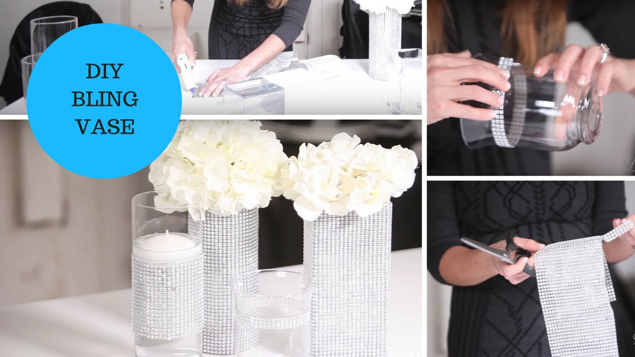 DIY Bling Vase Rhinestone Mesh Ribbon Wedding Tutorial - YouTube