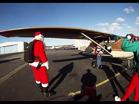 36 Years Santa and his Elves Skydive into Quincy, Ma. for the Christmas Parade.
