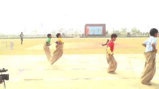 a m world school sports day std 1st and 2nd sack race of boys