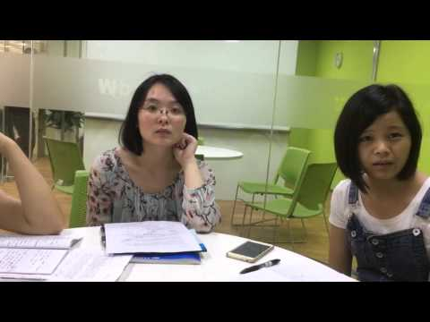 my English class in China - 3 young women in Shenzhen