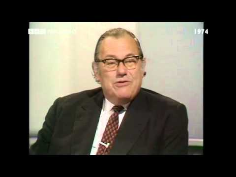 General Election October 1974: Reggie Maudling MP interviewed by Robin Day
