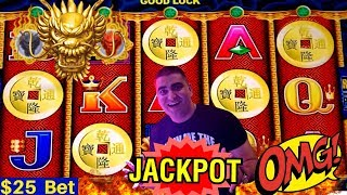 HIGH LIMIT 5 Dragons Slot Machine HANDPAY JACKPOT - $25 Bet | Rare 5 Bonus Symbols