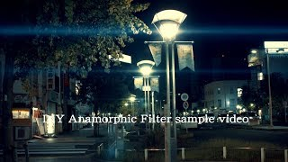 DIY anamorphic lens flare filter test sample