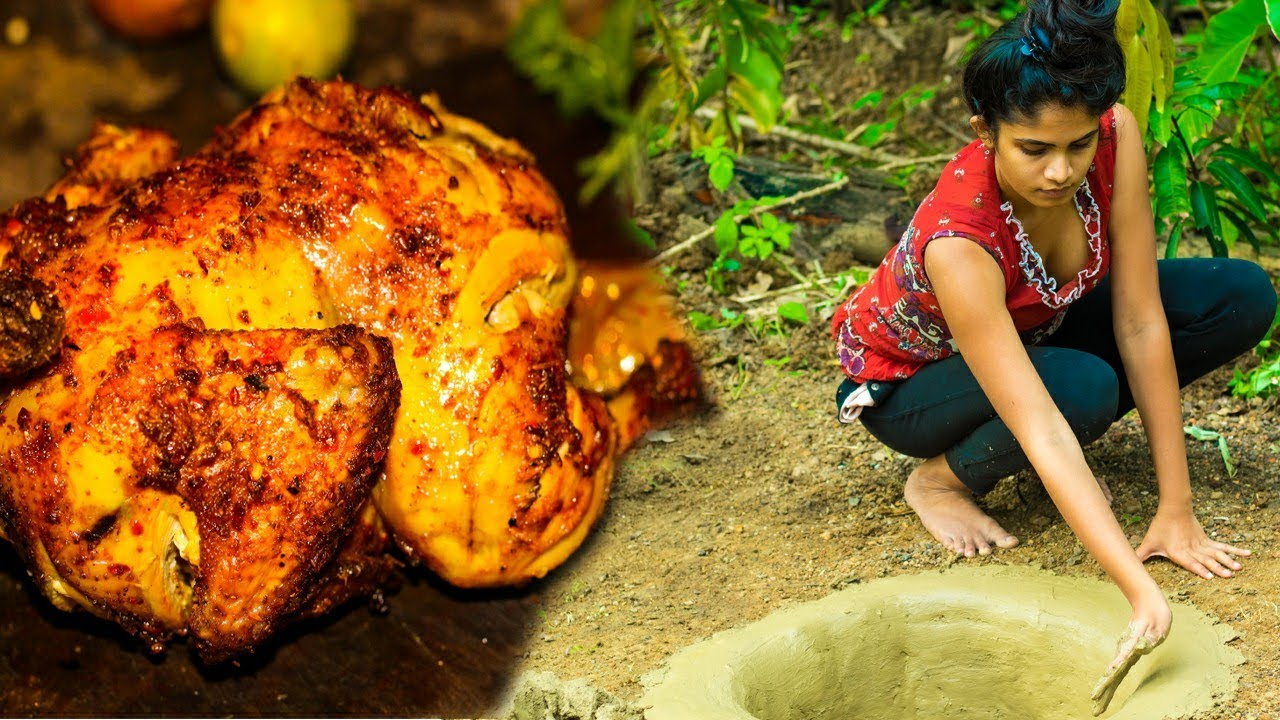Today I Baked Country Side Chicken In My New Ground Oven@Sri lankan Village girl