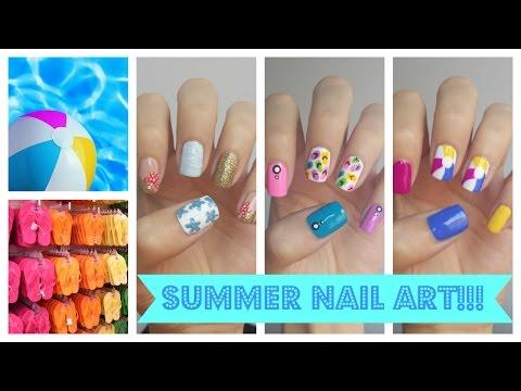 Summer Nail Art!!! Three Easy Ideas | JennyClaireFox