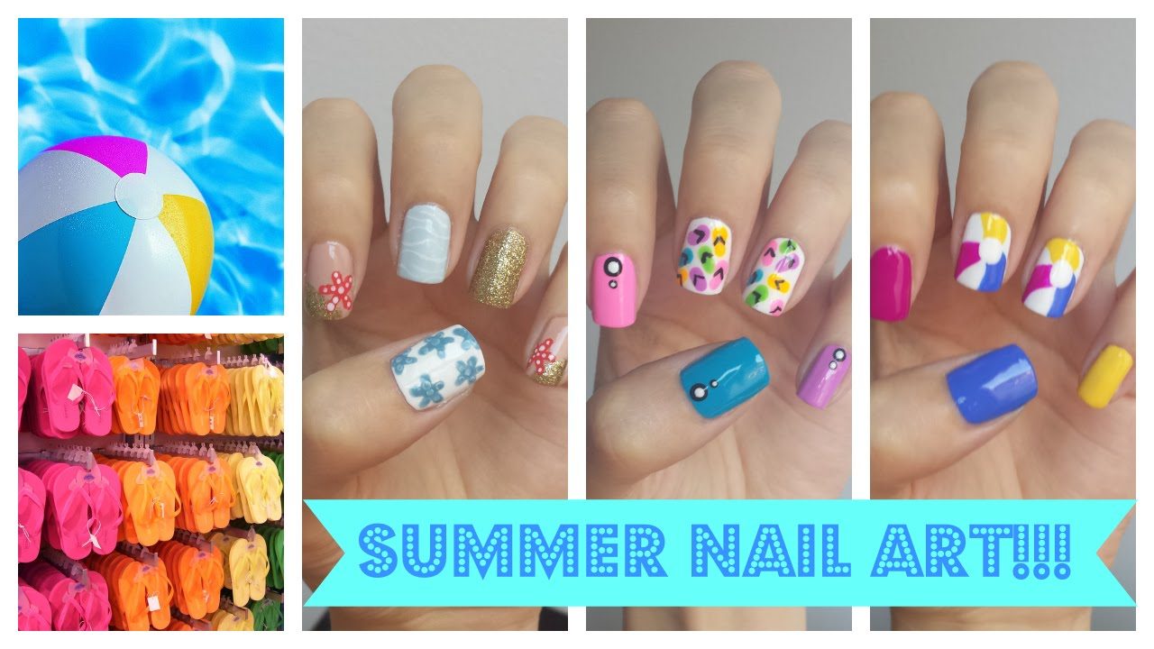 summer nail art!!! three easy ideas | jennyclairefox - youtube