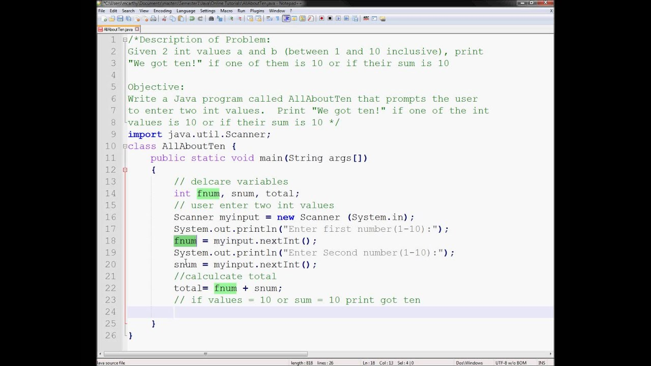 Exercise 4 Week 2 - Java Tutorial AllAboutTen Sum of Two Values ...