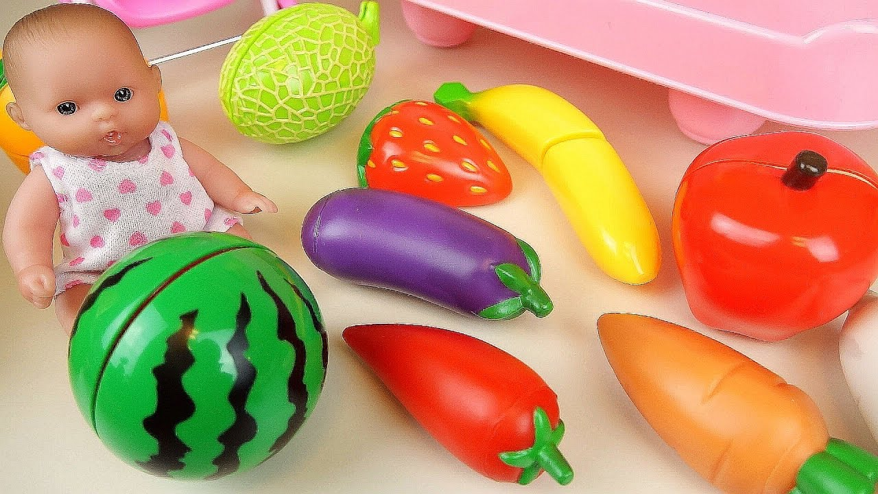Baby Doll Vegetable Fruit Wash And Cutting Kitchen Toys