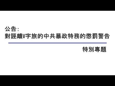 公告:对诬蔑V字旅的中共暴政特务的惩罚警告 【特别专题】 09212021