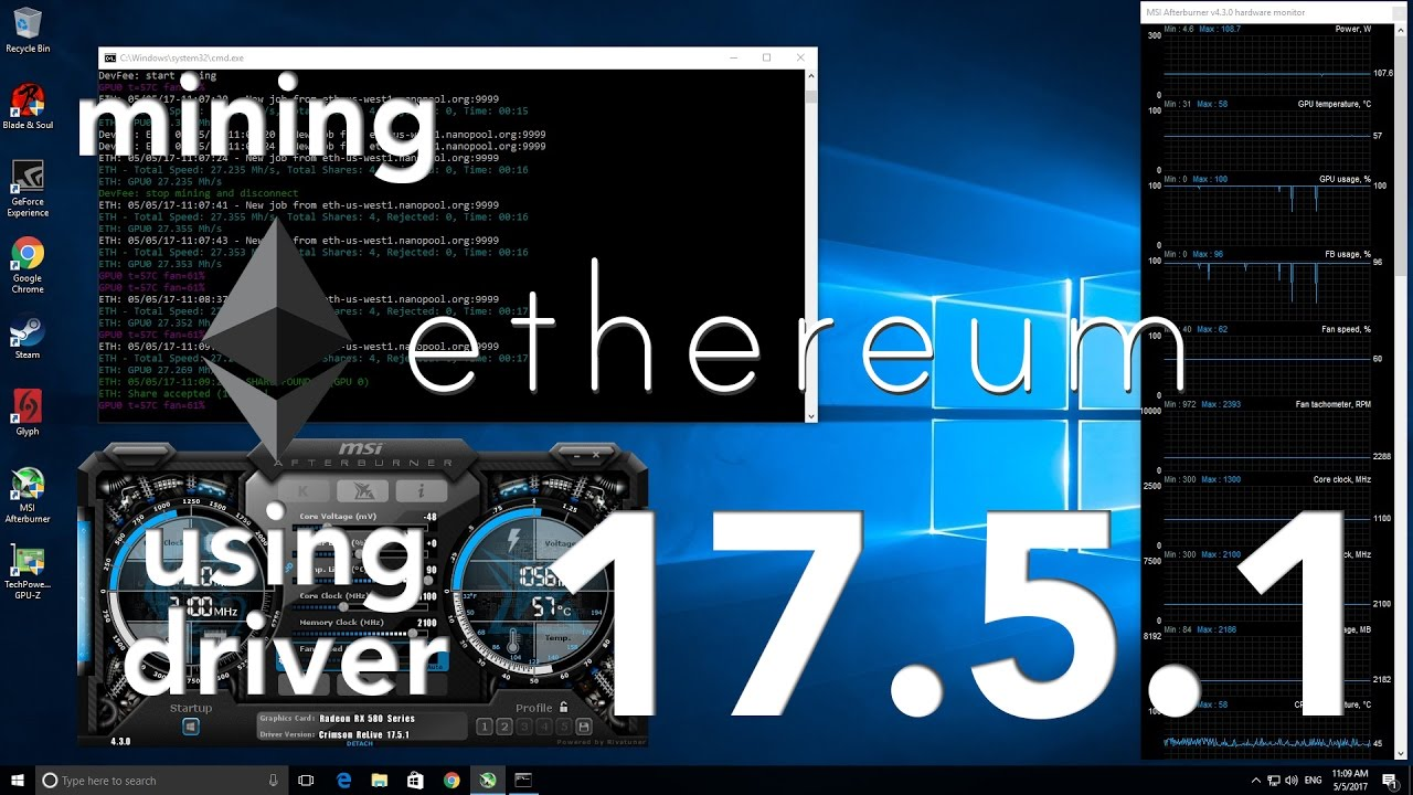 Btr Mining Ethereum On Rx 580 Using Amd Driver 17 5 1 Youtube
