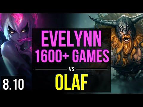 EVELYNN vs OLAF (JUNGLE) ~ 1600+ games, KDA 15/4/16, Unstoppable ~ NA Challenger ~ Patch 8.10