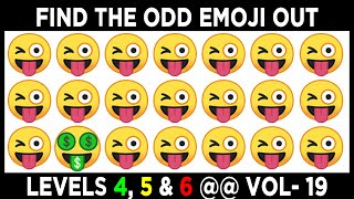 Find The Odd Emoji One Out Level 4,5 and 6 | Spot The Odd Emoji If You are a Genius | Emoji Puzzles