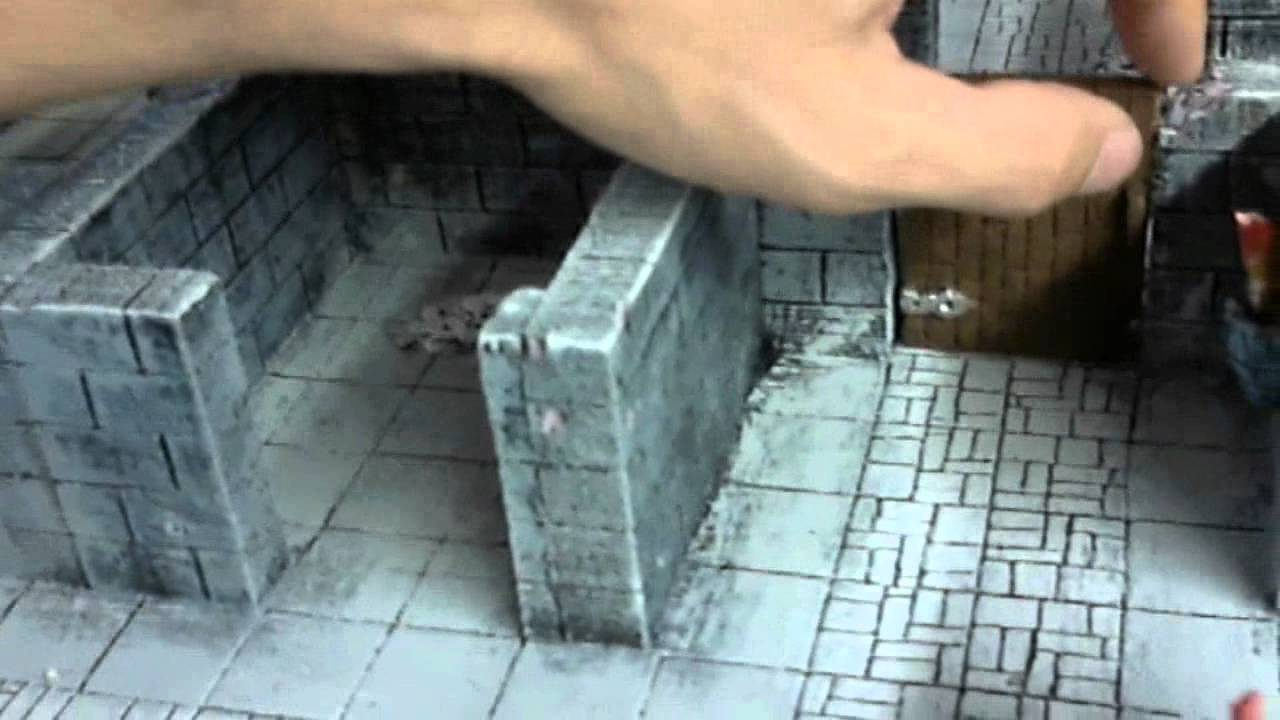 Dungeon made from foam board. - YouTube