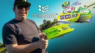 "What's New: ProBoat Miss Geico 17"" RTR Brushed Catamaran Boat"