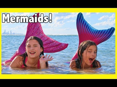 Thumbnail: FIN FUN MERMAID HAUL! We turn into the little mermaid & swim at the beach - kid toy review