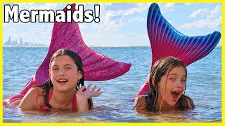 FIN FUN MERMAID HAUL! We turn into the little mermaid & swim at the beach - kid toy review