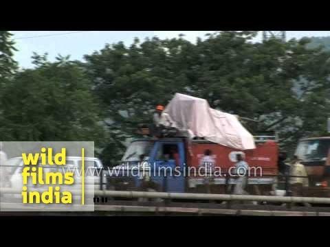 Kanwarias cross bridge during the Kavad Mela, Haridwar