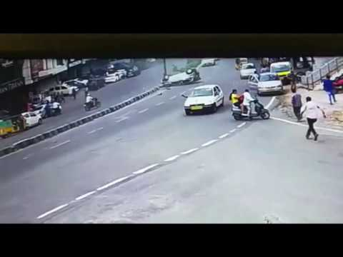 Car overturns while over-speeding in Hyderabad