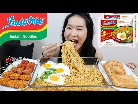 INDOMIE Mi Goreng Fried Noodles! Cheesy Chicken Sausages, Crispy Crab Nuggets | Eating Show Mukbang