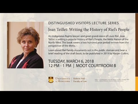 Distinguished Visitors Lecture Series: Jean Teillet March 6, 2018