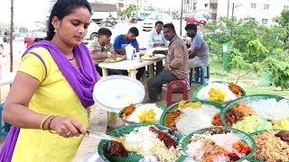 Hard Working Lady Selling Roadside Food Hyderabad | Chicken,Boti @ 70Rs | Veg @50 Rs only