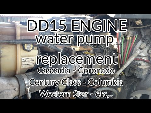 Freightliner Cascadia DD13 DD15 engine water pump removal replacement