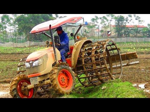 KUBOTA M6040 BÁNH LỒNG KHỦNG & KUBOTA L5018 GIÀN MACHIO may cay kubota tractor - cuoc song mien nui