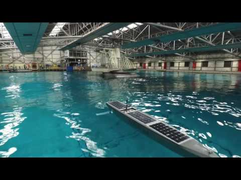AutoNaut 5 metre vessel being tested in QinetiQ Ocean Basin
