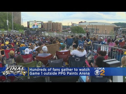 Hundreds Of Fans Cheer On Pens Outside PPG Paints Arena