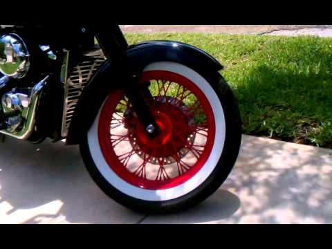 HONDA SHADOW & CBR 1000 WHITE WALLS AND RED WHEELS - YouTube
