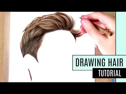 How to draw hair coloured pencil drawing tutorial realistic short hair