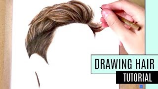 How to Draw Hair | Coloured Pencil Drawing Tutorial - Realistic short hair